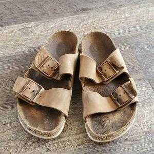 Birkenstock brown two strips metal buckle sandals